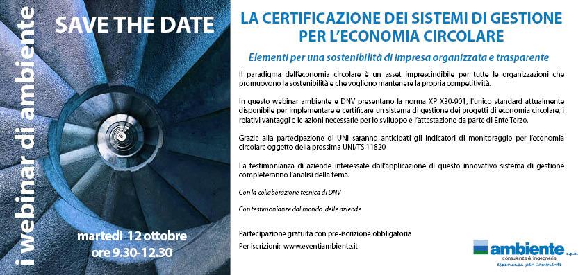 save the date webinar certificazione sistemi di  gestione
